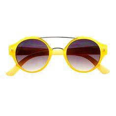 #metal #top #bar #retro #fashion #mens #womens #matte #round #sunglasses #neon #yellow