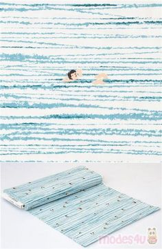 """white cotton fabric with blue water stroke motifs with various swimming people, Material: 100% cotton, Fabric Type: smooth cotton fabric, Pattern Repeat: ca. 30cm (11.8"""") #Cotton #Stripes #People #USAFabrics Michael Miller, Kawaii, Retro Fabric, White Cotton, Beach Mat, Outdoor Blanket, Cotton Fabric, Blue And White, Stripes"""