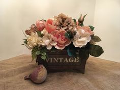 Shabby Chic Floral Arrangement in Metal Container that reads Vintage, Wedding Centerpiece, Home Decor Floral Arrangement, Spring Centerpiece by SheilasHomeCreations on Etsy