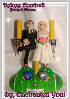 Football Wedding Cake Topper by EnchantedYou54449 on Etsy, $179.99