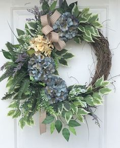Spring and summer wreath Hydrangea Wreath Everyday Spring Front Door Wreaths, Diy Spring Wreath, Diy Wreath, Holiday Wreaths, Grapevine Wreath, Wreath Ideas, Tulle Wreath, Winter Wreaths, Burlap Wreaths