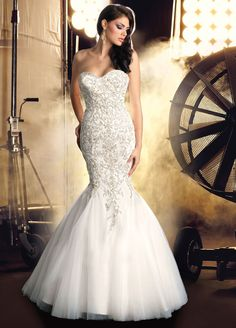 Strapless Mermaid Wedding Dresses With Bling
