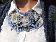 Купить или заказать Колье  джинс Синее море текстильное в интернет-магазине на…