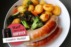Wat maken met de Airfryer? 30 Gerechten (Recepten + Foto's) Air Flyer, Hamburgers, Sausage, Chips, Food And Drink, Snacks, Diners, Meat, Recipes