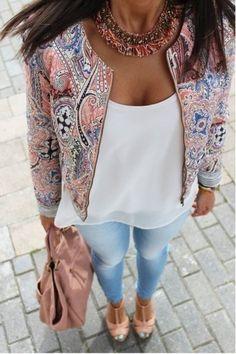 printing fashion round neck zipper jacket  CHF47LI