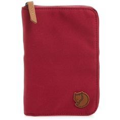Women's Fjallraven Canvas Passport Wallet ($50) ❤ liked on Polyvore featuring bags, wallets, plum, canvas wallet, fjallraven wallet, red bag, red wallet and canvas bags