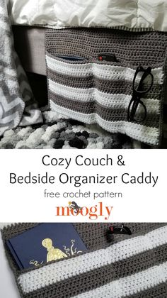 The Cozy Couch & Bedside Organizer Caddy is ideal for living rooms, bedrooms, and dorm rooms – ready to hold everything close at hand, safe and organized! Free crochet pattern on Moogly featuring Red Heart With Love! Crochet Chain, Free Crochet, Knit Crochet, Crochet Bags, Bedside Organizer, Bedside Caddy, Cozy Couch, Couch Pillows, Crochet Abbreviations