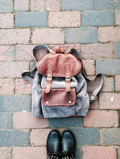 Unisex vintage style brown leather and grey by VintageChildShop