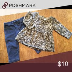 Leopard top and leggings Peplum top and denim look stretch leggings.  Top only worn once.  Entire outfit is clean and coffee of stains. Carter's Matching Sets