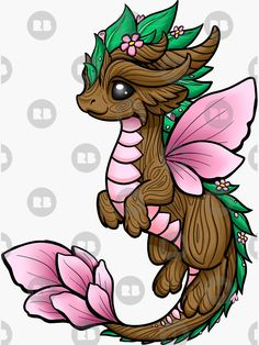 """Dragon Elemental' Sticker by Rebecca Golins -'Flower Dragon Elemental' Sticker by Rebecca Golins - """"Four Elements - Dragons"""" Sticker by bgolins Cute Animal Drawings, Kawaii Drawings, Cool Drawings, Drawing Sketches, Tattoo Sketches, Drawing Ideas, Cute Dragon Drawing, Dragon Sketch, Dragon Drawings"""