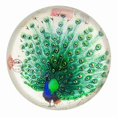 Beehive Design Vintage Glass Paperweights | Vintage Peacock Drawing Glass Paperweight Asian Art Design $18.50