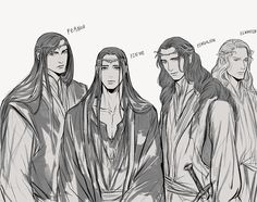 Finwe and his sons.  He looks like he's at the end of his rope.