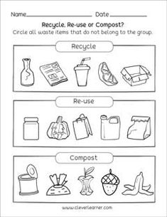 Free waste management activity for preschool and kindergartens Earth Day Worksheets, Earth Day Activities, Science Worksheets, Kindergarten Lesson Plans, Kindergarten Science, Kindergarten Worksheets, Earth Day Projects, School Projects, Recycling Activities For Kids
