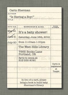 baby shower book library themed party invitation template | Baby ...