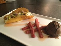 Milwaukee:  Housemade ricotta-filled orange cannoli with chocolate gelato and pickled rhubarb