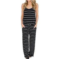 ed2d3fb99a186 Long Striped Jumpsuits Summer Women Spaghetti Strap Long Playsuits Sexy  Casual Beach Jumpsuit Wide Leg Pants Overalls Plus Size