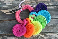 crocheted yarn key ring toy for baby by yourmomdesigns, via Etsy.