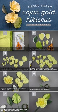 Tissue Paper Cajun Hibiscus Flower - Lia Griffith - www.liagriffith.com #tissuepaper #paper #paperart #paperflower #paperflowers #diyideas #diyideas #diyproject #diyprojects #diyinspiration #madewithlia