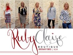 RubyClaire Boutique Giveaway on Sassy Steals! Click here for quick and easy entries for your chance to win one of 3 gift cards to RubyClaire Boutique!! Ends 9/24.