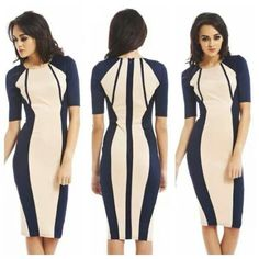 Slimming color blocking fitted dress