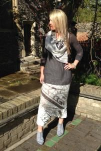 #rundholz mesh t.shirt with the #printed mainline #harem trousers a great #monochrome look #walkers design #octopus scarf and #trippen shoes  http://www.walkersofpottergate.com/outfits.php