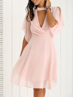 Petal Sleeve Knee Length Plunging Neck Pleated Dress - PINK XL