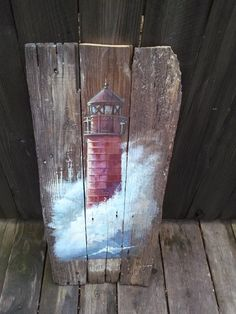 painting on wood barn boards Items similar to reserved for Mary - Original painting of lighthouse on barn wood. Pallet Painting, Pallet Art, Tole Painting, Painting On Wood, Painted Driftwood, Driftwood Art, Painted Wood, Painted Boards, Painted Rocks