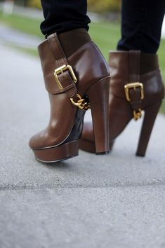 High Heel Brown Leather Booties