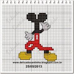 "Mickey Ears & Body Silhouette L) Delicado Cantinho: Monograma ""Mickey"""