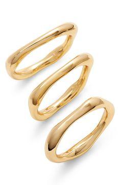 gorjana set of 3 gold rings