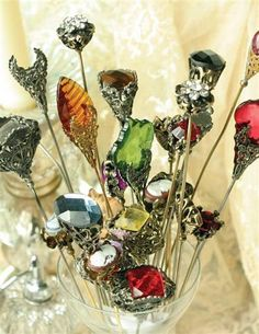 BEAUTIFUL HATPINS (SET OF 10) (inspiration for making my own)
