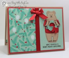 I used the Stampin Up! Fa-la-la-la Friends stamp set to create a fun holiday card to share today. I did have a little goof on the colors…I was sure that the Presents & Pinecones DSP had …