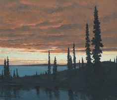 Frances Hans Johnston Midnight Sun, June Midnight, Great Bear Lake N. Emily Carr, Canadian Painters, Canadian Artists, Contemporary Artists, Modern Art, Group Of Seven Paintings, Tom Thomson Paintings, Landscape Paintings, Landscapes