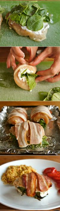 Bacon Wrapped Chicken Roll Ups with Spinach and Goat Cheese | Nosh-up