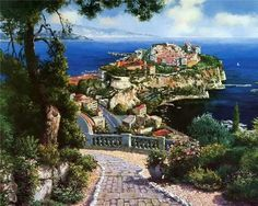 Aegean and Mediterranean Paintings art gallery - buy oil painting on canvas for sale, shop handmade Aegean and Mediterranean Paintings reproductions by famous artists painters. Oil Painting Pictures, Pictures To Paint, Print Pictures, Modern Art Prints, Wall Art Prints, Mediterranean Paintings, Mediterranean Sea, Park Landscape, Scenery Pictures