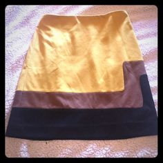 "❗️PRICE DROP❗️Ann Taylor Loft Color Block Skirt EUC Ann Taylor Loft Color Block Skirt - worn once and in excellent condition. This mustard, brown and black color block skirt pairs perfectly with a black top. Size 4 and true to size. 15"" waist across the front & 19.5"" long in the front. Smoke free pet free home. A great statement piece! Ann Taylor Loft Skirts"