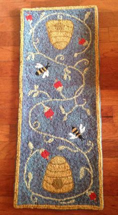 ≗ The Bee's Reverie ≗ Bee Skep Runner by CountingSheepRugShop on Etsy