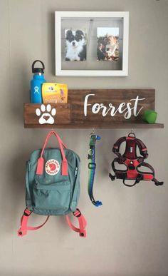 Custom Wooden Pet Leash Holder with Storage Personalized Pet Dog Storage, Stuffed Animal Storage, Animal Room, Dog Station, Puppy Room, Dog Organization, Dog Leash Holder, Dog Rooms, Mellow Yellow