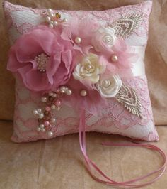 Ivory Ring Bearer's Pillow with Pink Lace and Pink and Ivory Accents | NellieKatzDesignz - Wedding on ArtFire