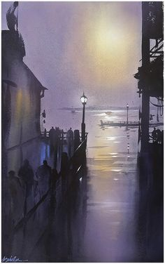 Composition in Violet by Thomas W. Schaller Watercolor ~ 24 x 18