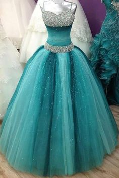 Sparkly Ball Gown Spaghetti Straps Sweetheart Beading Sequin Shiny Prom Dresses Quinceanera Dresses