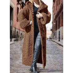 Solid Chunky knit Hooded Casual Long Cardigan (1002322445) - Sweaters - #322445 vencano Hooded Cardigan, Long Cardigan, Sweater Cardigan, Designer Party Wear Dresses, Dress For Short Women, Pullover, Nice Dresses, Hoods, Knitting