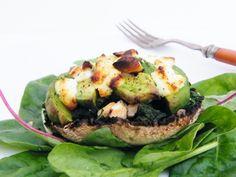 Tinned Tomatoes: Avocado and Goats Cheese Stuffed Mushrooms