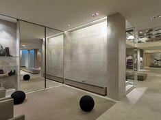 Inside of Van Look shop, Grigio Alpi in cladding and flooring