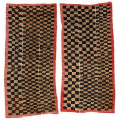 Pair of Tibetan Tsutruk Checker Board Rugs