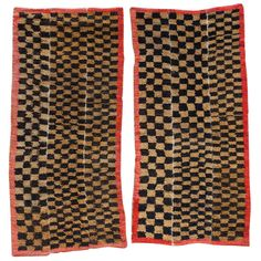 Pair of Tibetan Tsutruk Checker Board Rugs | From a unique collection of antique and modern chinese and east asian rugs at http://www.1stdibs.com/furniture/rugs-carpets/chinese-rugs/