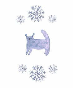 Jelena Matriszenka  #watercolor #watercolorillustration #illustration #watercolorart #art #akwarele #creature #cute #cat #snow #blue