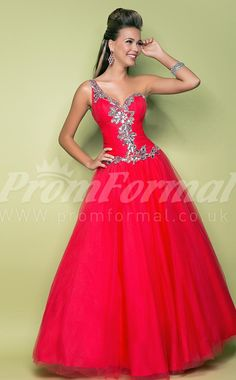 red Tulle One Shoulder Ball Gown Crystal And Beads Quincenera Dresses,girls prom dresses