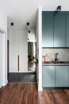 Small modern apartment with a separate bedroom in Gdansk (38 sqm) | #interior #design #home #decor #idea #inspiration #house #cozy #style #Room #kitchen #blue #contemporary #minimalist