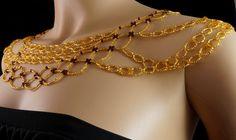 Garnet gold Czech glass beaded shoulder by originalbeading on Etsy